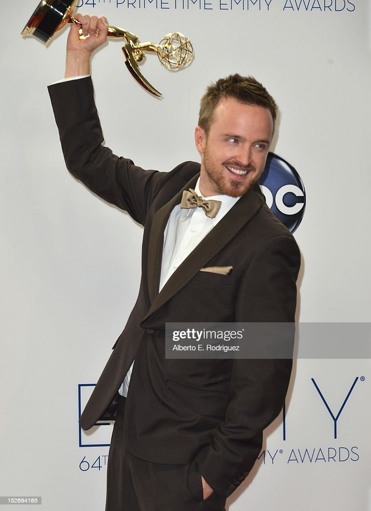 Actor Aaron Paul poses in the 64th Annual Emmy Awards press room at Nokia Theatre L.A. Live on September 23, 2012 in Los Angeles, California.