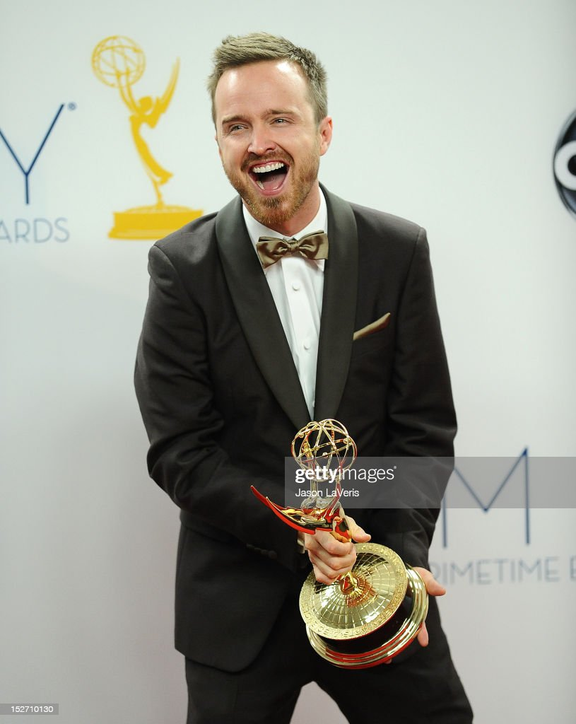 Actor <a gi-track='captionPersonalityLinkClicked' href=/galleries/search?phrase=Aaron+Paul+-+Actor&family=editorial&specificpeople=693211 ng-click='$event.stopPropagation()'>Aaron Paul</a> poses in the press room at the 64th Primetime Emmy Awards at Nokia Theatre L.A. Live on September 23, 2012 in Los Angeles, California.