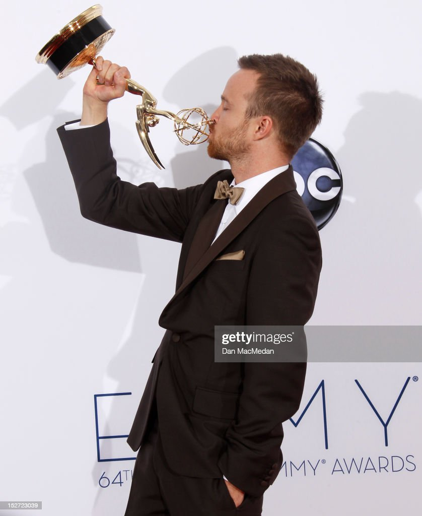 Actor <a gi-track='captionPersonalityLinkClicked' href=/galleries/search?phrase=Aaron+Paul+-+Actor&family=editorial&specificpeople=693211 ng-click='$event.stopPropagation()'>Aaron Paul</a> poses in the press room at the 64th Primetime Emmy Awards held at Nokia Theatre L.A. Live on September 23, 2012 in Los Angeles, California.