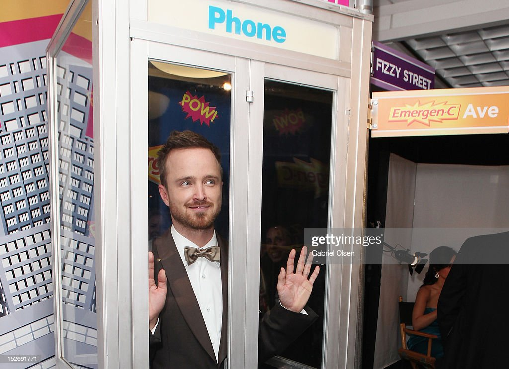 Actor <a gi-track='captionPersonalityLinkClicked' href=/galleries/search?phrase=Aaron+Paul+-+Actor&family=editorial&specificpeople=693211 ng-click='$event.stopPropagation()'>Aaron Paul</a> poses with Emergen-C in the Presenters Gift Lounge Backstage in celebration of the 64th Primetime Emmy Awards produced by On 3 Productions at Nokia Theatre L.A. Live on September 23, 2012 in Los Angeles, California.