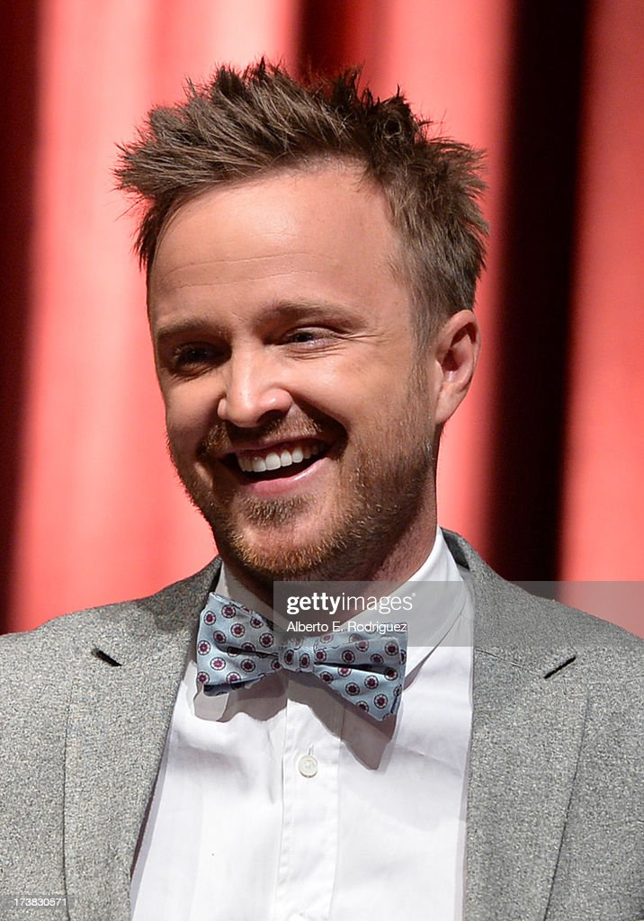 Actor Aaron Paul reacts onstage following the 65th Primetime Emmy Awards nomination announcements at the Television Academy's Leonard H. Goldenson Theatre on July 18, 2013 in North Hollywood, California.