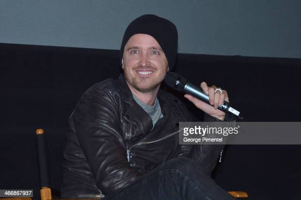 Actor Aaron Paul speaks at a QA session during a special fan screening of DreamWorks' Pictures 'Need For Speed' on February 4 2014 at the Scotiabank...