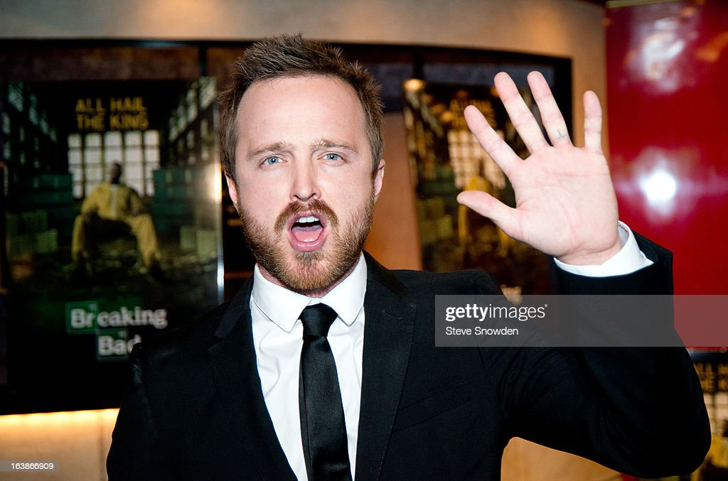Actor <a gi-track='captionPersonalityLinkClicked' href=/galleries/search?phrase=Aaron+Paul+-+Actor&family=editorial&specificpeople=693211 ng-click='$event.stopPropagation()'>Aaron Paul</a> speaks with the media and fans prior to participating in a tribute during the ABQ Studios And Youth Development Inc. Honor The Cast Of 'Breaking Bad' on at Albuquerque Studios on March 16, 2013 in Albuquerque, New Mexico.