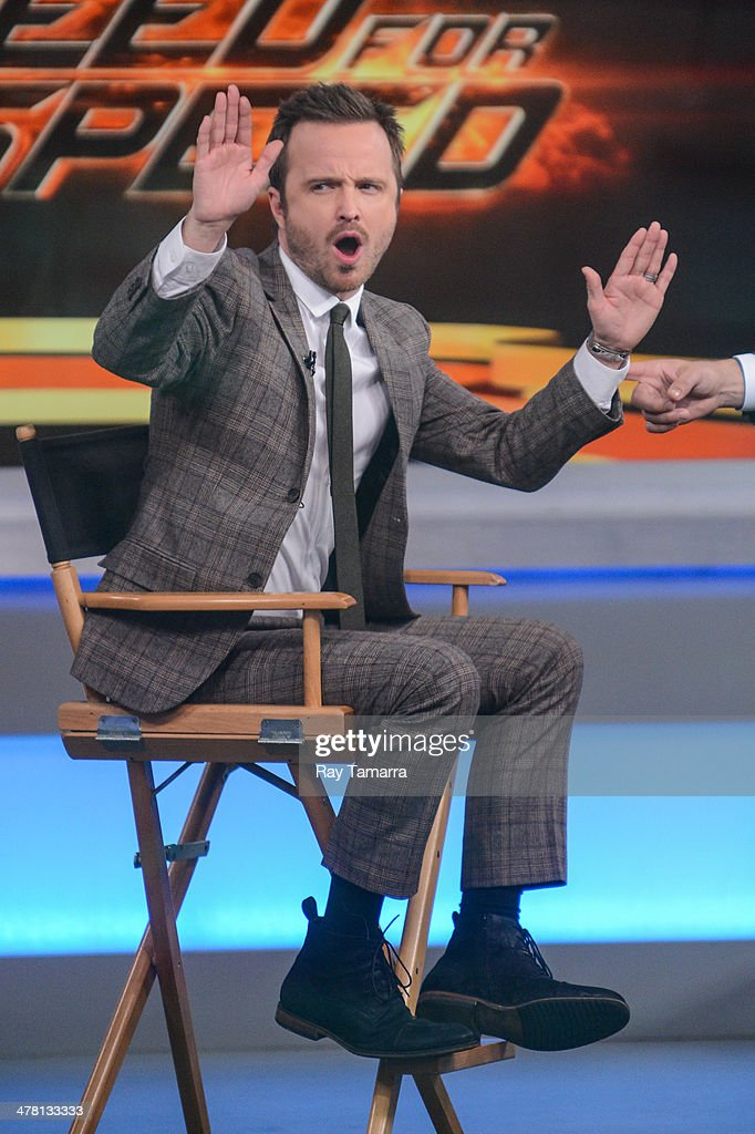 Actor <a gi-track='captionPersonalityLinkClicked' href=/galleries/search?phrase=Aaron+Paul+-+Actor&family=editorial&specificpeople=693211 ng-click='$event.stopPropagation()'>Aaron Paul</a> tapes an interview at 'Good Morning America' at the ABC Times Square Studios on March 12, 2014 in New York City.