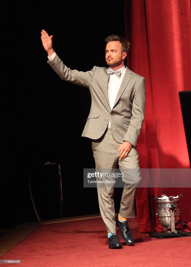 Actor Aaron Paul walks onstage during the 65th Primetime Emmy Awards nominations at the Television Academy's Leonard H. Goldenson Theatre on July 18, 2013 in North Hollywood, California.