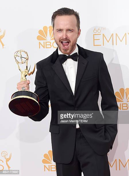 Actor Aaron Paul winner of Outstanding Drama Series Award and Outstanding Supporting Actor in a Drama Series Award for 'Breaking Bad' poses in the...