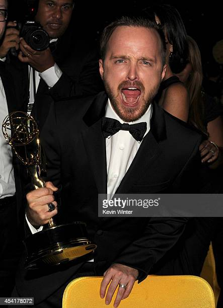 Actor Aaron Paul winner of Outstanding Supporting Actor in a Drama Series for 'Breaking Bad' attends the 66th Annual Primetime Emmy Awards Governors...