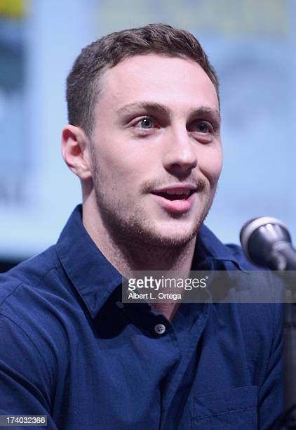 Actor Aaron TaylorJohnson speaks onstage at the 'KickAss 2' and 'Riddick' Panels during ComicCon International 2013 at San Diego Convention Center on...