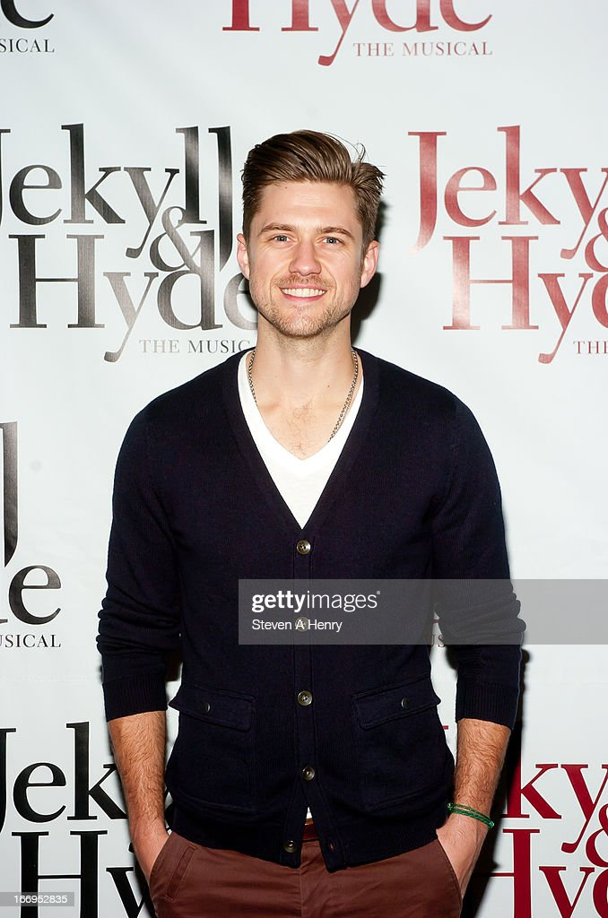 Actor <a gi-track='captionPersonalityLinkClicked' href=/galleries/search?phrase=Aaron+Tveit&family=editorial&specificpeople=884274 ng-click='$event.stopPropagation()'>Aaron Tveit</a> attends the Broadway opening night of 'Jekyll & Hyde The Musical' at the Marquis Theatre on April 18, 2013 in New York City.