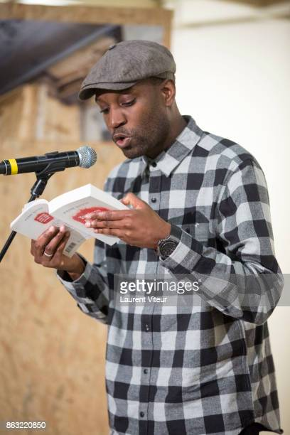 Actor Abd Al Malik reads 'Tombeau pour Cinq Cent Mille Soldats' for 50th anniversary of the book at Azzedine Alaia Gallery on October 19 2017 in...