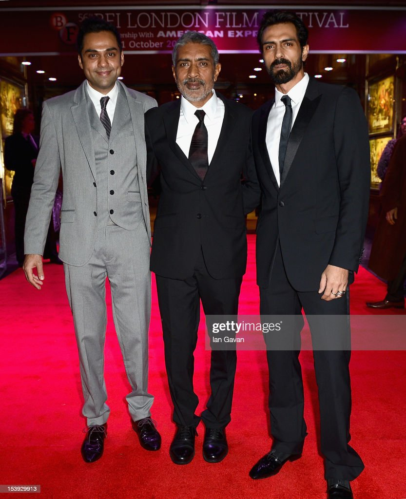 Actor <a gi-track='captionPersonalityLinkClicked' href=/galleries/search?phrase=Abhay+Deol&family=editorial&specificpeople=5377911 ng-click='$event.stopPropagation()'>Abhay Deol</a>, director Prakash Jha and actor <a gi-track='captionPersonalityLinkClicked' href=/galleries/search?phrase=Arjun+Rampal&family=editorial&specificpeople=684118 ng-click='$event.stopPropagation()'>Arjun Rampal</a> attend the 'Chakravyuh' premiere during the 56th BFI London Film Festival at the Empire Leicester Square on October 11, 2012 in London, England.