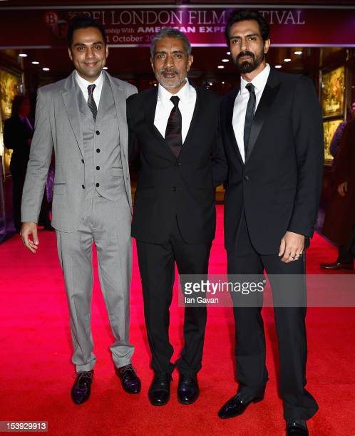 Actor Abhay Deol director Prakash Jha and actor Arjun Rampal attend the 'Chakravyuh' premiere during the 56th BFI London Film Festival at the Empire...