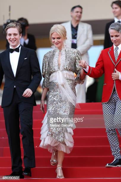 Actor Abraham Lewis actress Nicole Kidman and director John Cameron Mitchell depart after the 'How To Talk To Girls At Parties' screening during the...