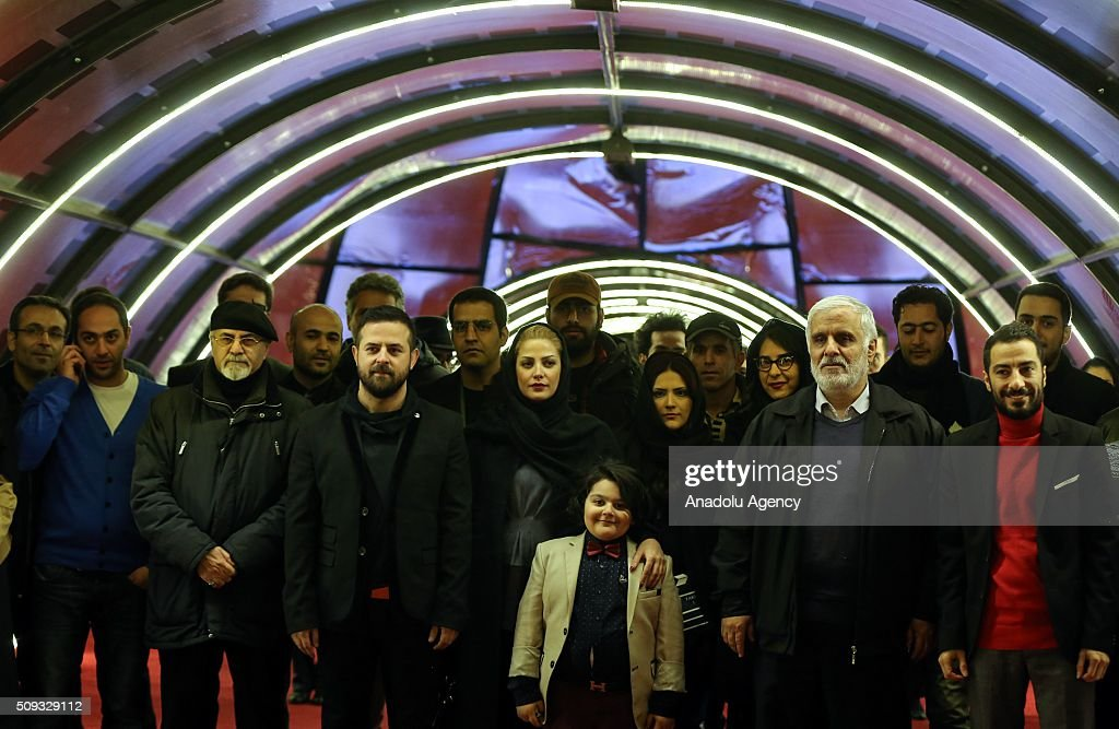 Actor, actress and crew of the movie 'Anger and Chaos' by Houman Seyyedi pose as they arrive for a screening during the 34th edition of the Fajr International Film Festival at Milad Tower in Tehran, Iran on February 10, 2016.
