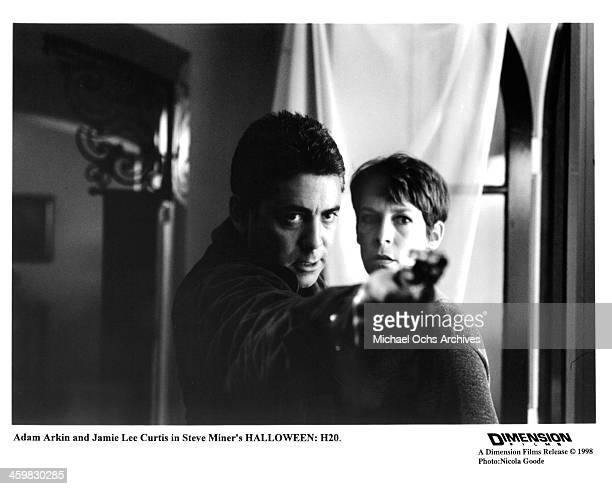 Actor Adam Arkin and actress Jamie Lee Curtis on set of the movie 'Halloween H20 20 Years Later' circa 1998