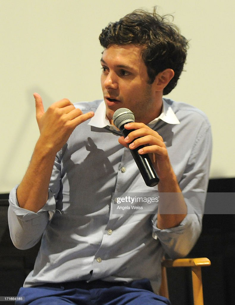 Actor <a gi-track='captionPersonalityLinkClicked' href=/galleries/search?phrase=Adam+Brody&family=editorial&specificpeople=213610 ng-click='$event.stopPropagation()'>Adam Brody</a> participates in a Q&A following the premiere of 'Some Girl(s)' at Laemmle NoHo 7 on June 26, 2013 in North Hollywood, California.