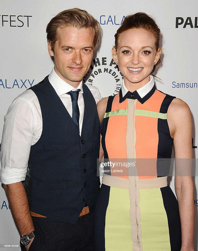 Actor Adam Campbell and actress <a gi-track='captionPersonalityLinkClicked' href=/galleries/search?phrase=Jayma+Mays&family=editorial&specificpeople=2294638 ng-click='$event.stopPropagation()'>Jayma Mays</a> attend the PaleyFest Icon Award presentation at The Paley Center for Media on February 27, 2013 in Beverly Hills, California.