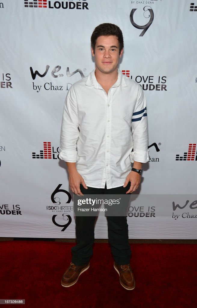 Actor Adam DeVine arrives at Chaz Dean's Holiday Party Benefitting the Love is Louder Movement on December 1, 2012 in Los Angeles, California.
