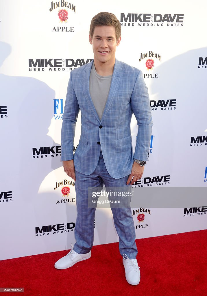 Actor Adam DeVine arrives at the premiere of 20th Century Fox's 'Mike And Dave Need Wedding Dates' at the Cinerama Dome at ArcLight Hollywood on June...