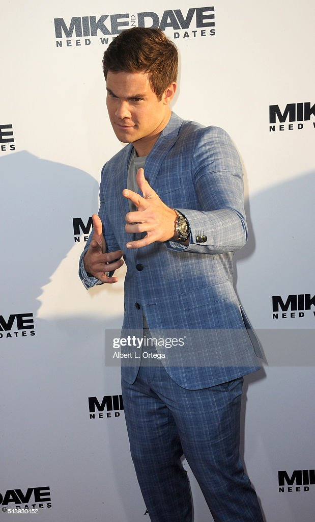 Actor Adam Devine arrives for the Premiere Of 20th Century Fox's 'Mike And Dave Need Wedding Dates' held at the ArcLight Cinemas Cinerama Dome on June 29, 2016 in Hollywood, California.
