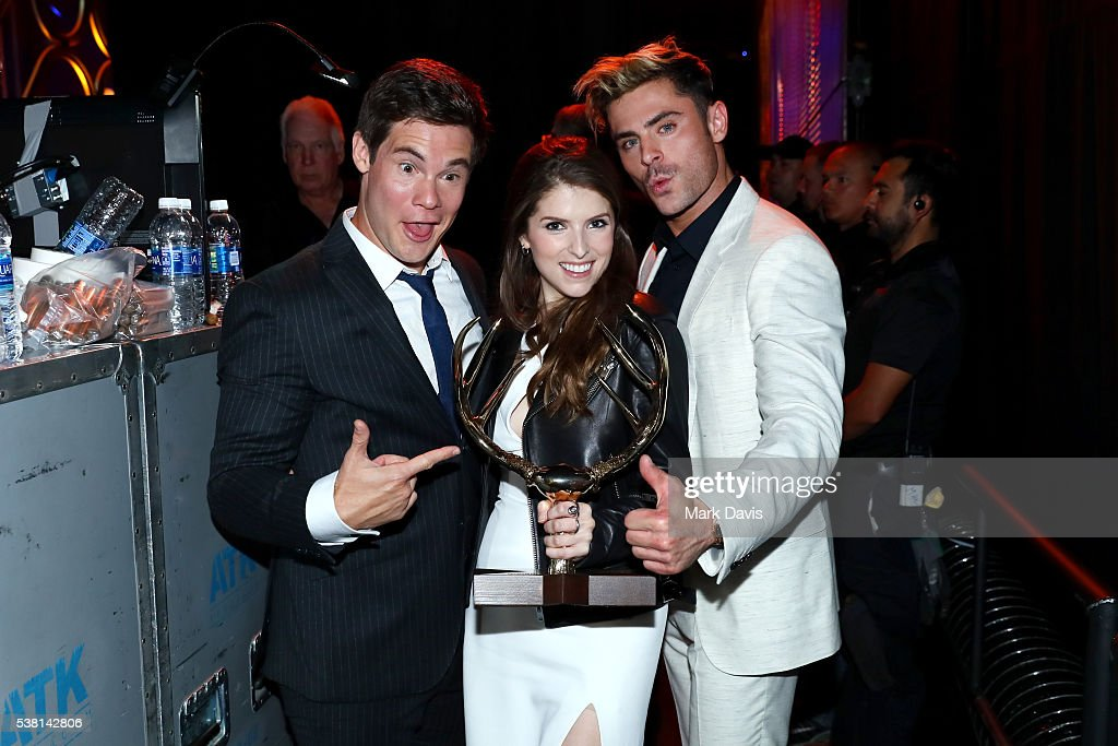 Actor Adam DeVine honoree of the Hot Funny Award Anna Kendrick and Zac Efron attend Spike TV's 10th Annual Guys Choice Awards at Sony Pictures...