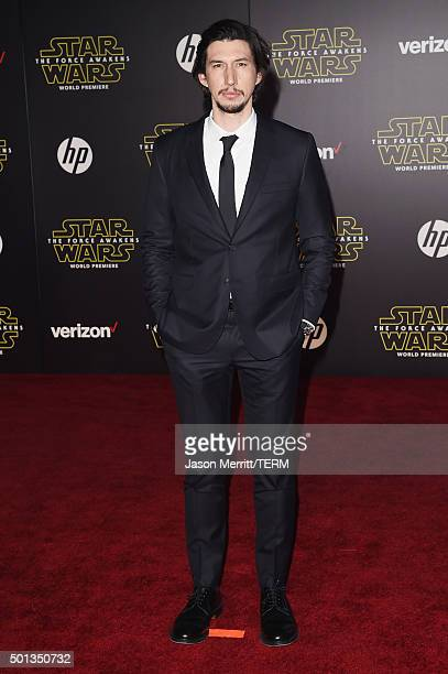 Actor Adam Driver attends Premiere of Walt Disney Pictures and Lucasfilm's 'Star Wars The Force Awakens' on December 14 2015 in Hollywood California