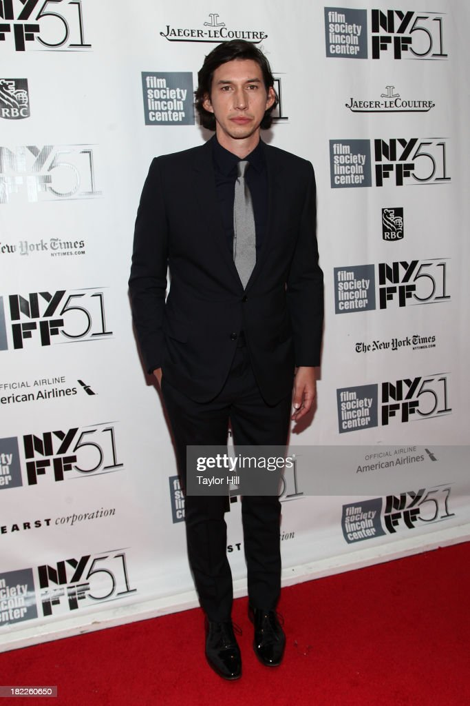 Actor Adam Driver attends the 'Inside Lleywn Davis' permiere during the 51st New York Film Festival at Alice Tully Hall at Lincoln Center on...