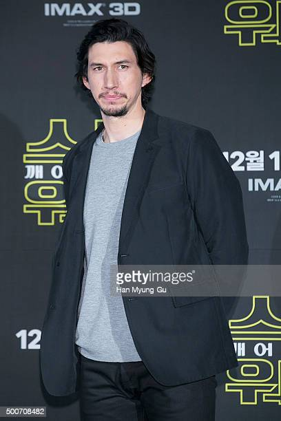 Actor Adam Driver attends the press conference for 'Star Wars The Force Awakens' at the Conrad Hotel on December 9 2015 in Seoul South Korea The film...