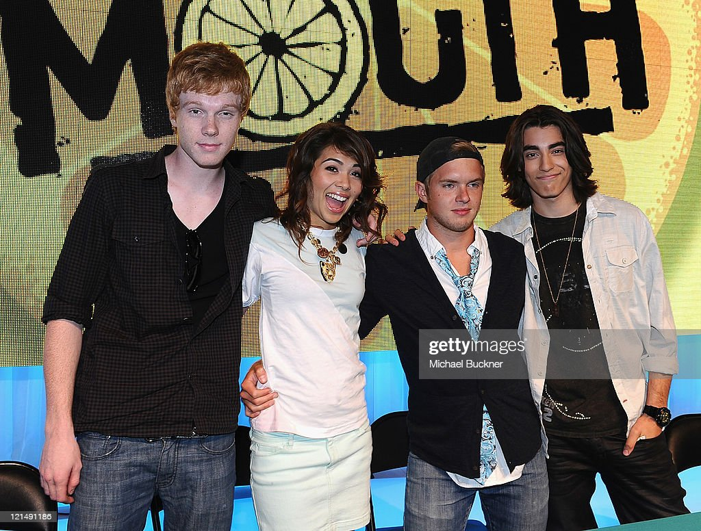 Actor <a gi-track='captionPersonalityLinkClicked' href=/galleries/search?phrase=Adam+Hicks&family=editorial&specificpeople=5778787 ng-click='$event.stopPropagation()'>Adam Hicks</a>, actress <a gi-track='captionPersonalityLinkClicked' href=/galleries/search?phrase=Hayley+Kiyoko&family=editorial&specificpeople=4846122 ng-click='$event.stopPropagation()'>Hayley Kiyoko</a>, actor Chris Brochu and actor Blake Michael sign autographs at the D23 Expo 2011 at the Anaheim Convention Center on August 19, 2011 in Anaheim, California.