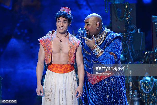 Actor Adam Jacobs and James Monroe Iglehart perform 'Aladdin' onstage during the 68th Annual Tony Awards at Radio City Music Hall on June 8 2014 in...