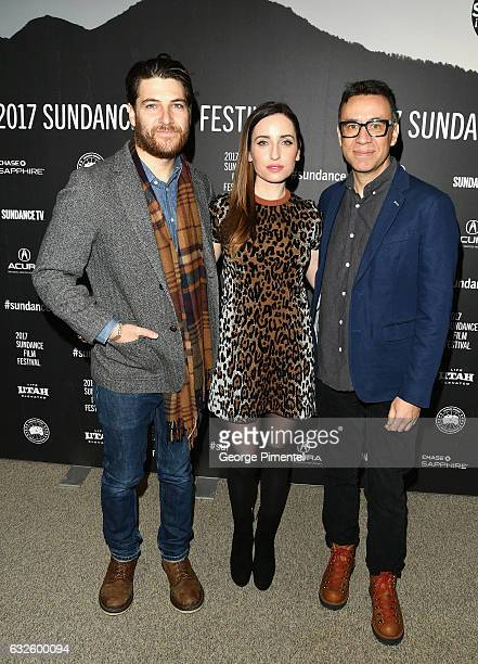 Actor Adam Pally director/writer Zoe ListerJones and actor Fred Armisen attend the 'Band Aid' Premiere at Eccles Center Theatre on January 24 2017 in...
