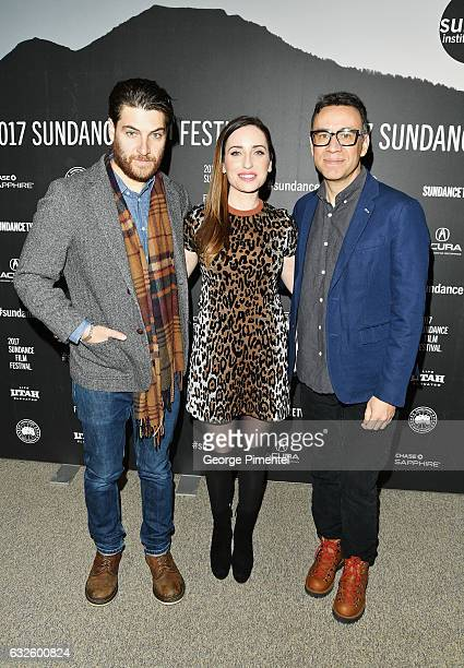 Actor Adam Pally film maker Zoe ListerJones and actor Fred Armisen attend the 'Band Aid' Premiere at Eccles Center Theatre on January 24 2017 in Park...