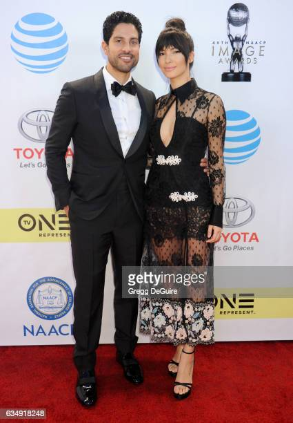 Actor Adam Rodriguez and wife Grace Gail arrive at the 48th NAACP Image Awards at Pasadena Civic Auditorium on February 11 2017 in Pasadena California