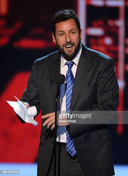 Actor Adam Sandler accepts the Favorite Comedic Movie Actor award onstage at The 40th Annual People's Choice Awards at Nokia Theatre LA Live on...