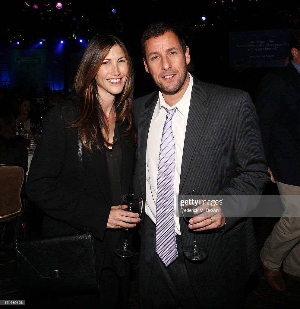 Actor <a gi-track='captionPersonalityLinkClicked' href=/galleries/search?phrase=Adam+Sandler&family=editorial&specificpeople=202205 ng-click='$event.stopPropagation()'>Adam Sandler</a> (R) and his wife <a gi-track='captionPersonalityLinkClicked' href=/galleries/search?phrase=Jackie+Sandler&family=editorial&specificpeople=4402496 ng-click='$event.stopPropagation()'>Jackie Sandler</a> attend The Fullfillment Fund's STARS 2012 Benefit Gala at The Beverly Hilton Hotel on October 24, 2012 in Beverly Hills, California.