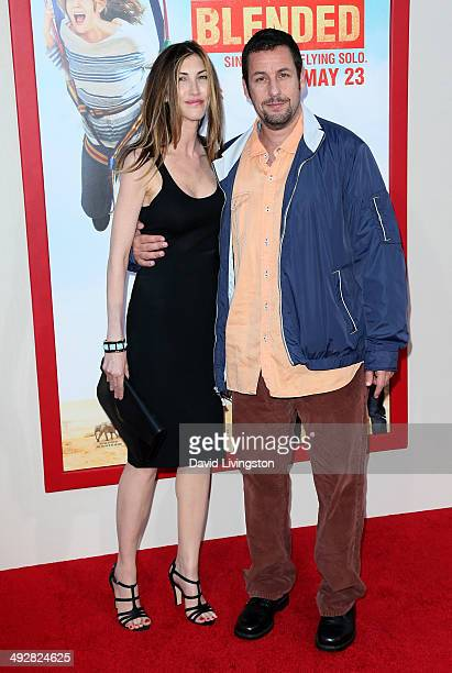 Actor Adam Sandler and wife Jackie Sandler attend the Los Angeles premiere of 'Blended' at the TCL Chinese Theatre on May 21 2014 in Hollywood...