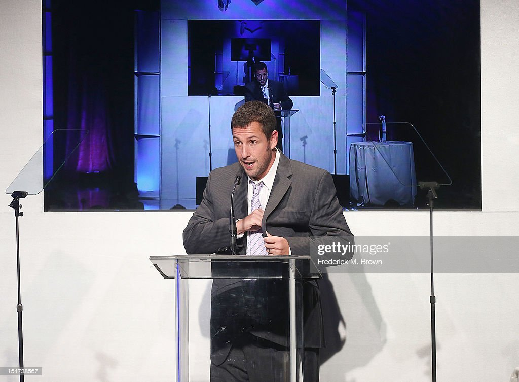 Actor <a gi-track='captionPersonalityLinkClicked' href=/galleries/search?phrase=Adam+Sandler&family=editorial&specificpeople=202205 ng-click='$event.stopPropagation()'>Adam Sandler</a> speaks during The Fulfillment Fund's STARS 2012 Benefit Gala at The Beverly Hilton Hotel on October 24, 2012 in Beverly Hills, California.