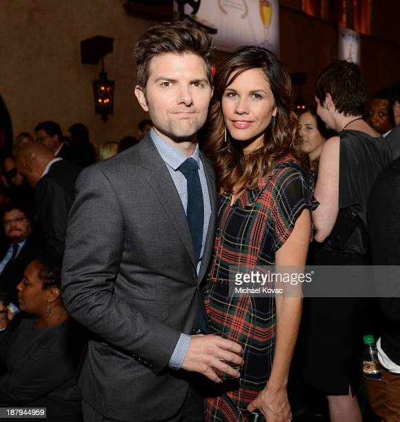 Actor Adam Scott and Naomi Scott attend the 'The Secret Life Of Walter Mitty' Gala After Party during AFI FEST 2013 presented by Audi at Roosevelt...
