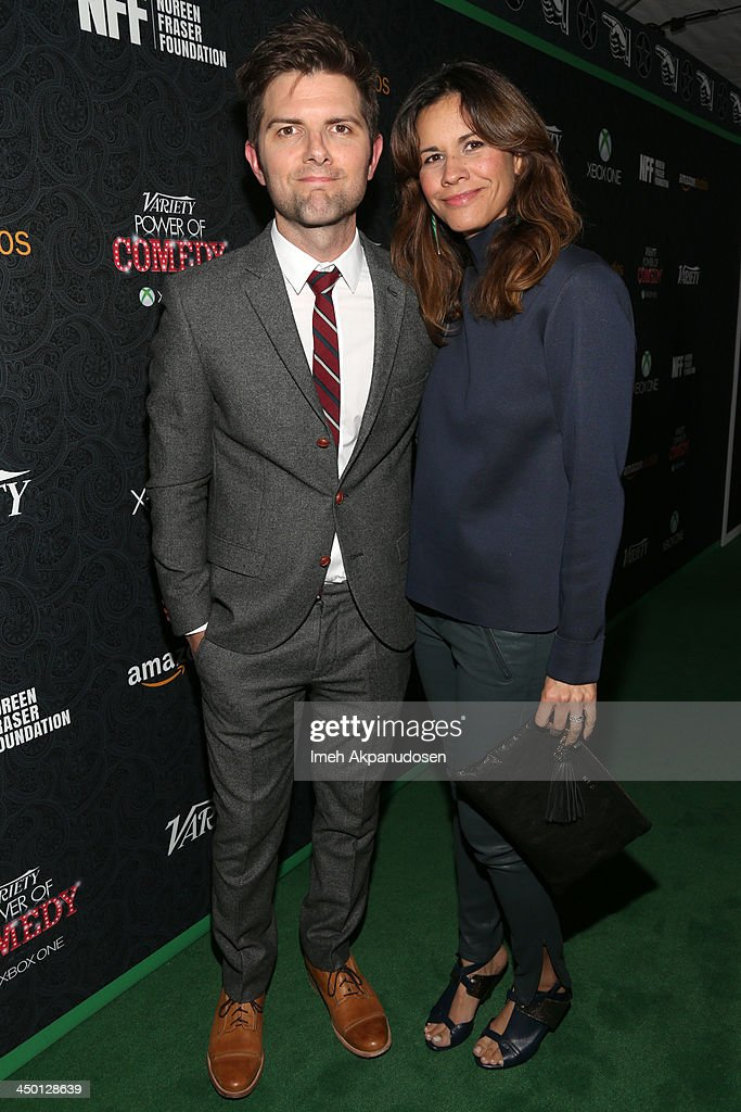 Actor Adam Scott (L) and <a gi-track='captionPersonalityLinkClicked' href=/galleries/search?phrase=Naomi+Scott+-+Producer&family=editorial&specificpeople=15246195 ng-click='$event.stopPropagation()'>Naomi Scott</a> attend Variety's 4th Annual Power of Comedy presented by Xbox One benefiting the Noreen Fraser Foundation at Avalon on November 16, 2013 in Hollywood, California.