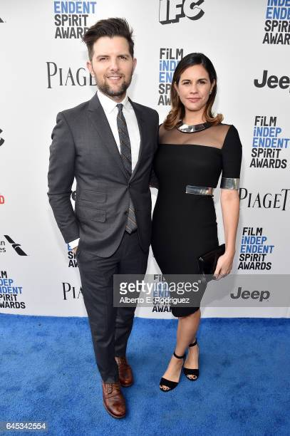 Actor Adam Scott and producer Naomi Scott attend the 2017 Film Independent Spirit Awards at the Santa Monica Pier on February 25 2017 in Santa Monica...