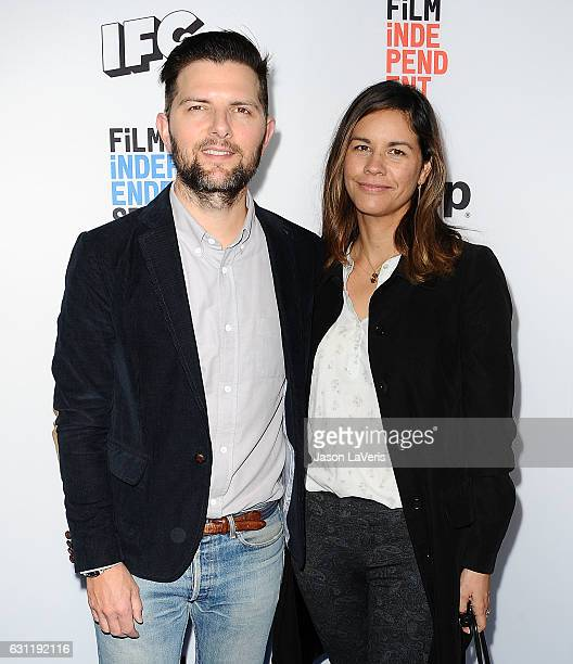 Actor Adam Scott and wife Naomi Scott attend the 2017 Film Independent filmmaker grant and Spirit Award nominees brunch at BOA Steakhouse on January...