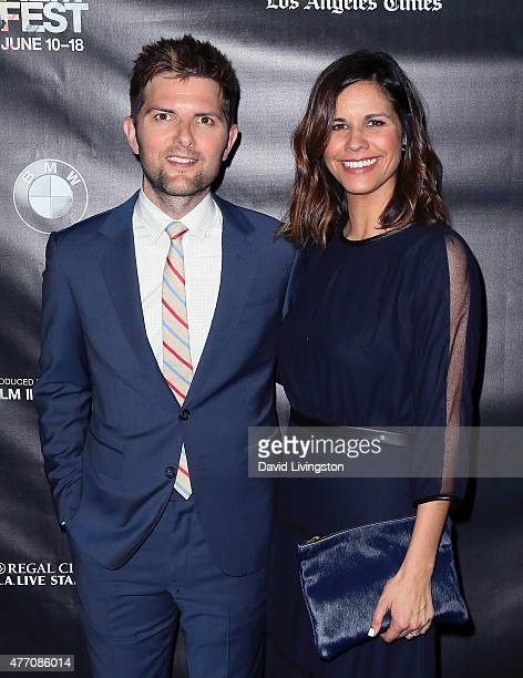 Actor Adam Scott and wife producer Naomi Scott attend the premiere of 'The Overnight' at the 2015 Los Angeles Film Festival at Regal Cinemas LA Live...