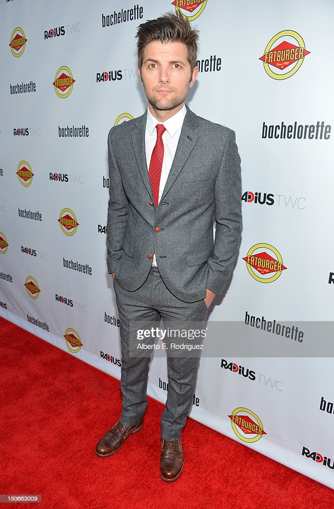 Actor Adam Scott arrives at the premiere of RADiUS-TWC's 'Bachelorette' at ArcLight Cinemas on August 23, 2012 in Hollywood, California.