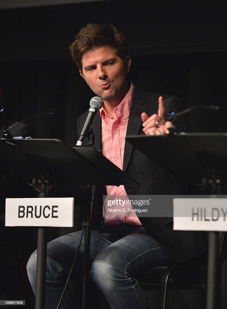 Actor Adam Scott attends a Film Independent live read at Bing Theatre At LACMA on January 17, 2013 in Los Angeles, California.