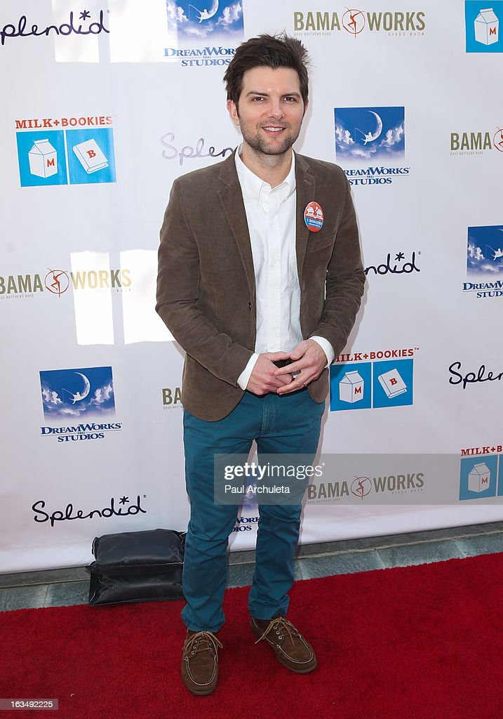 Actor Adam Scott attends the 4th annual Milk+Bookies story time celebration at The Skirball Cultural Center on March 10, 2013 in Los Angeles, California.