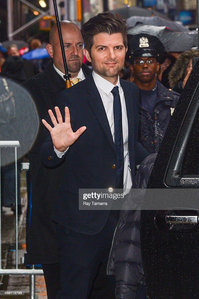 Actor Adam Scott leaves the 'Good Morning America' taping at the ABC Times Square Studios on December 23, 2013 in New York City.