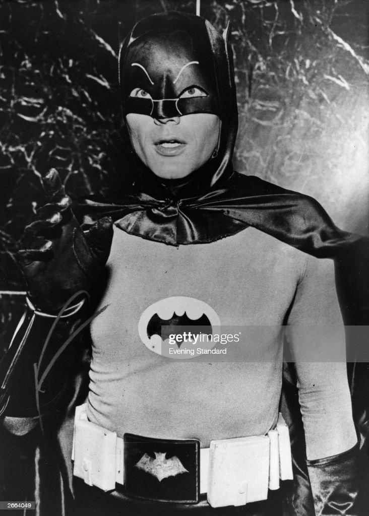 Actor Adam West in his role as masked superhero Batman