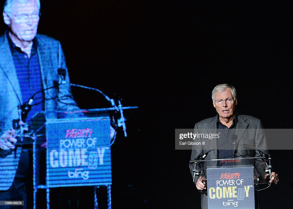 Actor <a gi-track='captionPersonalityLinkClicked' href=/galleries/search?phrase=Adam+West&family=editorial&specificpeople=235413 ng-click='$event.stopPropagation()'>Adam West</a> onstage at Variety's 3rd annual Power of Comedy event presented by Bing benefiting the Noreen Fraser Foundation held at Avalon on November 17, 2012 in Hollywood, California.