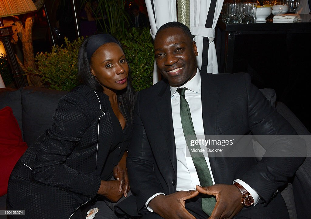 Actor <a gi-track='captionPersonalityLinkClicked' href=/galleries/search?phrase=Adewale+Akinnuoye-Agbaje&family=editorial&specificpeople=787923 ng-click='$event.stopPropagation()'>Adewale Akinnuoye-Agbaje</a> (R) and guest attend the Entertainment Weekly Pre-SAG Party hosted by Essie and Audi held at Chateau Marmont on January 26, 2013 in Los Angeles, California.