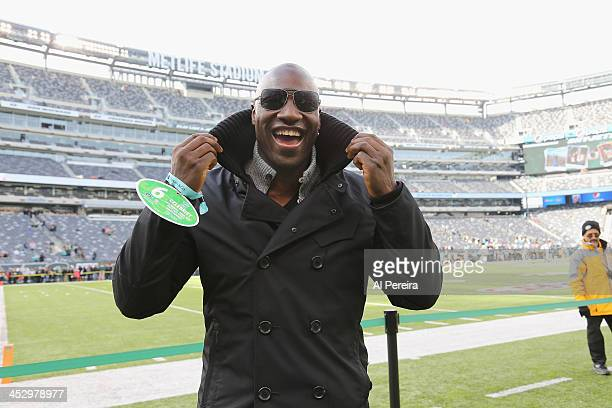 Actor Adewale AkinnuoyeAgbaje attends the Miami Dolphins vs New York Jets game at MetLife Stadium on December 1 2013 in East Rutherford New Jersey